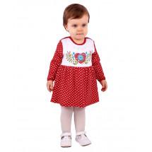 Платье-боди для малышек красного цвета в горошек