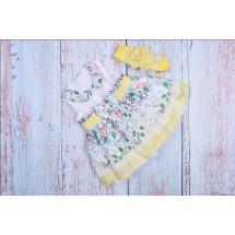 Платье нарядное для малышек с желтым кружевом bebus