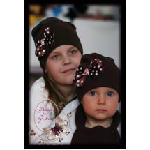 Комплект весенний коричневый с бантиком (удлиненная шапка и шарф)