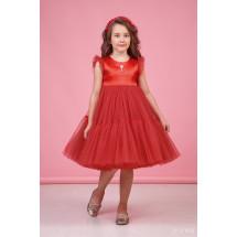 """Платье нарядное красное для девочек с многослойной юбкой """"Одуванчик"""""""