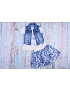 Комплект летний синего цвета bebus (юбка, футболка и жилетка)