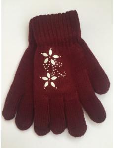 Перчатки осенние бордового цвета с цветочками из страз