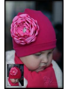 Комплект для девочек ярко-розовый с розой (шапка и шарф)