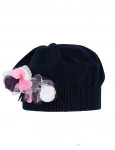 Берет полушерстянной темно-синего цвета с розовым цветком ВИОЛА