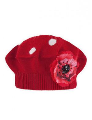 """Берет демисезонный красного цвета на девочку с цветком """"ИВАНКА"""""""